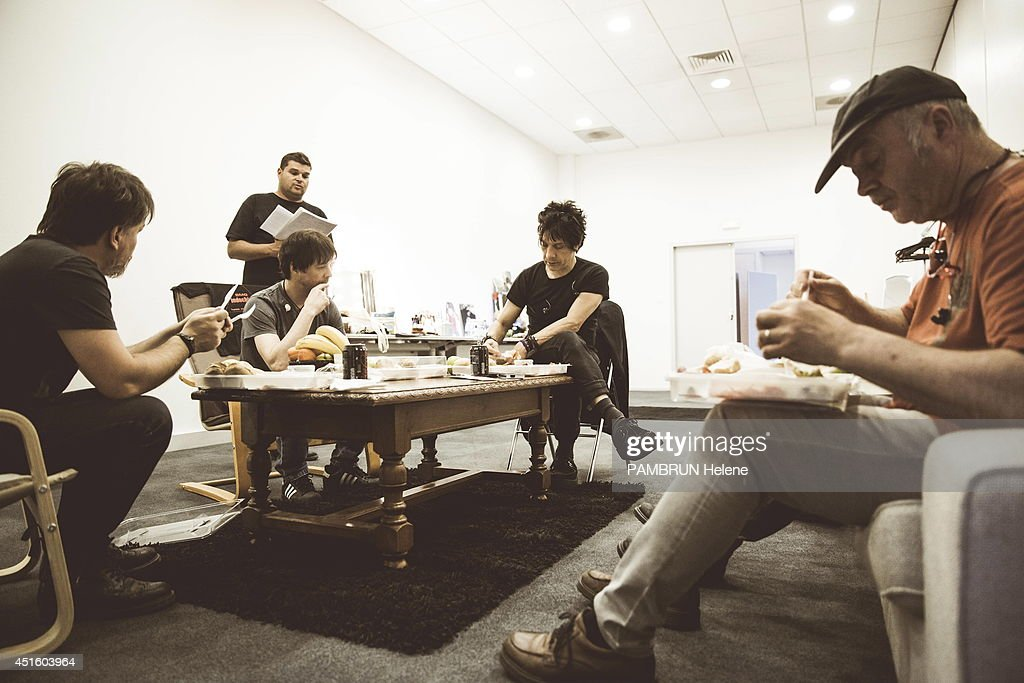 Indochine group prepare its concert at the Stade of France the 27 and 28 june 2014, the singer Nicola Sirkis with Boris Jardel guitarist and Mr Marco alias Marc Eliard the bassist on June 18, 2014 in Dijon, France.