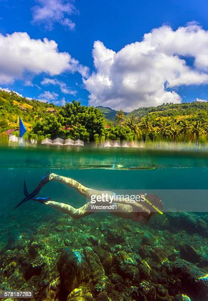 Indonesia, Bali, Amed, young woman snorkeling