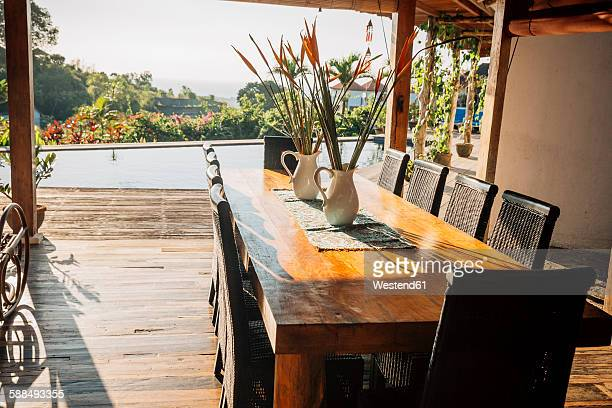 Indonesia, Bali, dining table in a holiday villa