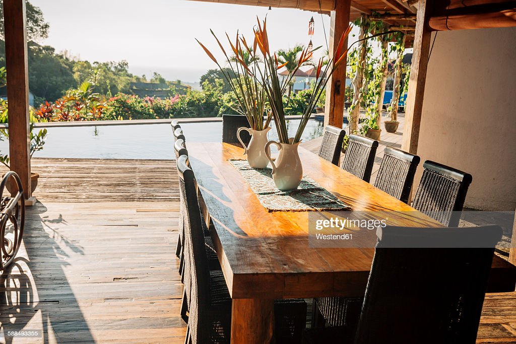 Indonesia, Bali, Dining Table In A Holiday Villa : Stock Photo