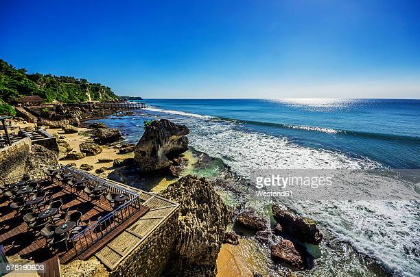 Indonesia, Bali, Jimbaran, Indian Ocean, terrace of restaurant at beach