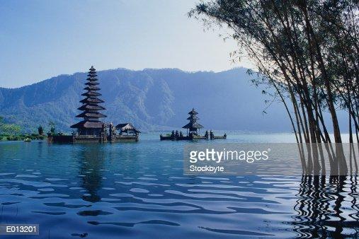 Indonesia, Bali, pagodas floating in lake : Stock Photo