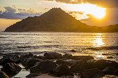Indonesia, Coastline of Sumbawa island at sunset