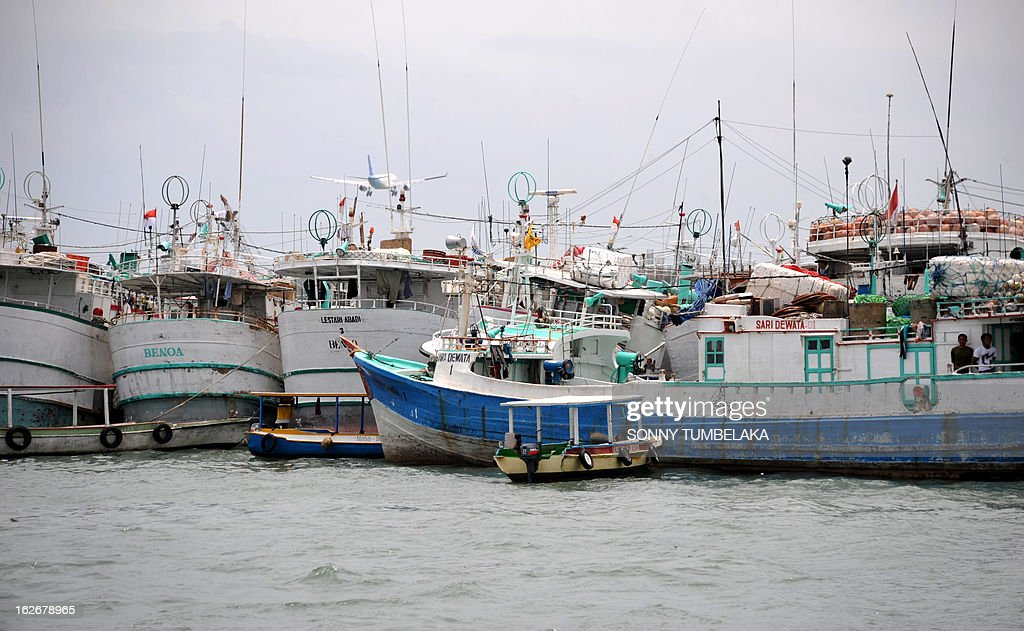 Indonesia fishing boats mooring at Benoa harbour in Denpasar on Bali island, on February 26, 2013.The Indonesia's Agency for Meteorology and Geophysics (BMKG), predicted that a tropical cyclone is centered south of Bali's closest neighbor, West Nusa Tenggara (NTB), with winds of up to 40 kilometers per hour.