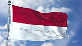 Indonesia Flag in a Blue Sky. Use this clip loud and proud to express loyalty and love to our country. It is a seamless loop with luma channel.