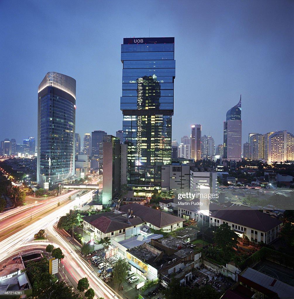 Indonesia, Jakarta skyline at dusk