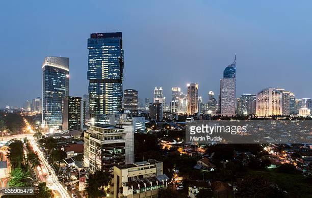 Indonesia, Jakarta, skyline at dusk