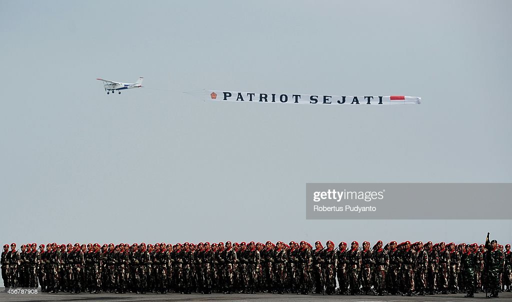 Indonesia National Military Academy members march during The 69th Republic of Indonesia Military Anniversary on October 7 2014 in Surabaya Indonesia...