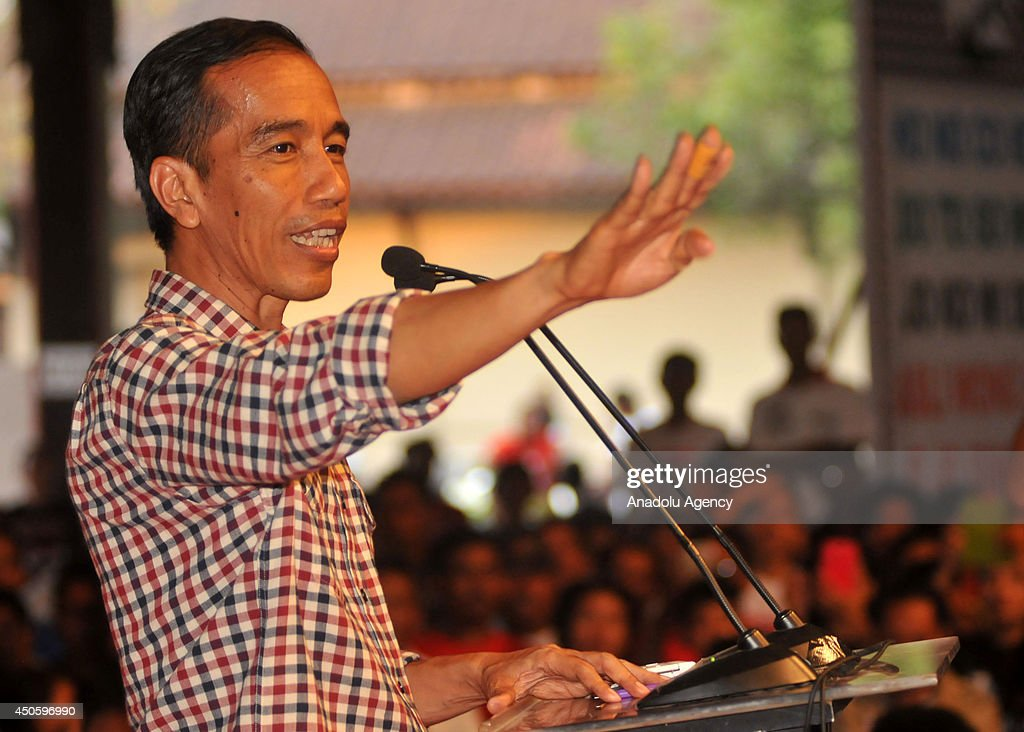 Indonesia president candidate, Joko Widodo greets his supporters during campaign in Central Java, Indonesia, on June 14. Indonesia will hold presidential elections on July 9.