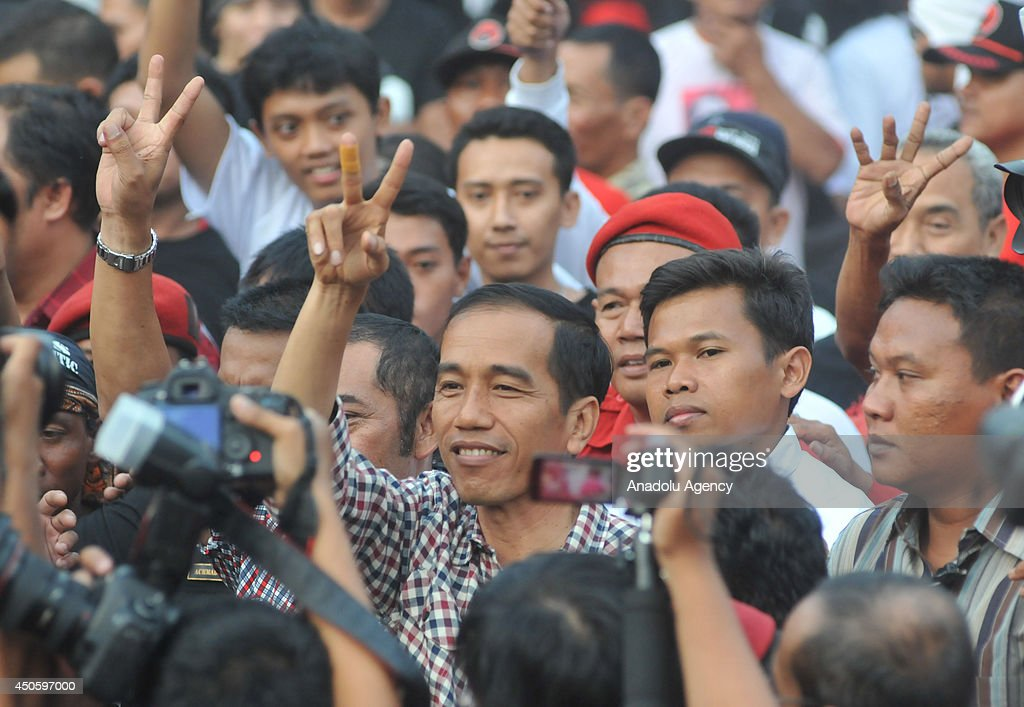 Indonesia Presidential Candidate, Joko Widodo greets his supporters during campaign in Central Java, Indonesia, on June 14. Indonesia will hold presidential elections on July 9.