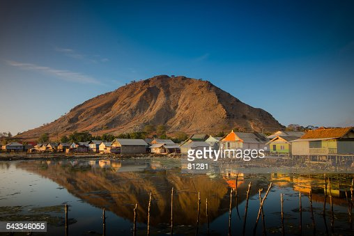 Indonesia, Sumbawa Island, Pototano, Fisherman village at foot of mountain