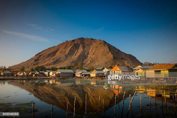 Indonesia, Sumbawa Island, Pototano, Fisherman village at foot of mountain