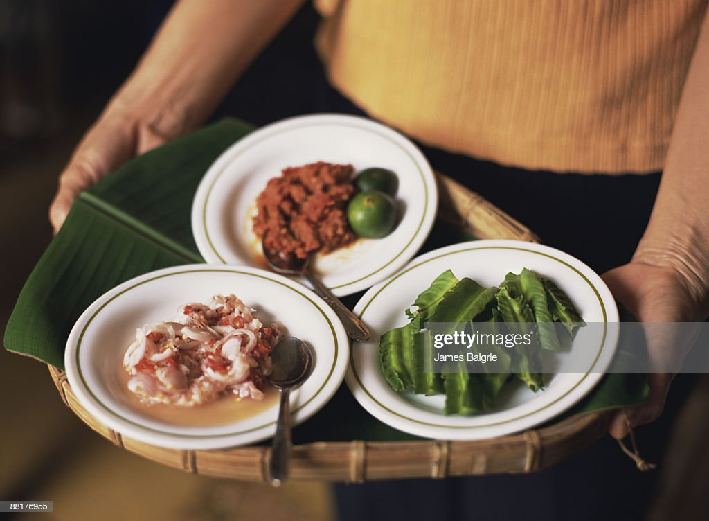 Indonesian appetizer platter : Stock Photo