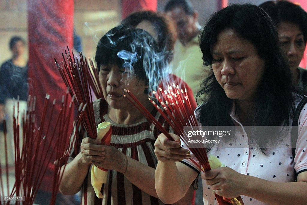 Indonesian Chinese pray during Chinese New Year celebrations at Dharma Bhakti Temple on February 8, 2016 in Jakarta, Indonesia.