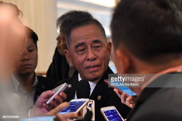 Indonesian Defence Minister General Ryamizard Ryacudu talks to reporters after a meeting between the US defence and ASEAN defence leaders at the 16th...