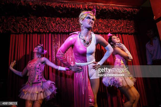 Indonesian drag queen Ayubie performs during the 5th anniversary celebrations of Bali Joe Bar one of the most famous gay bars in Bali on December 23...