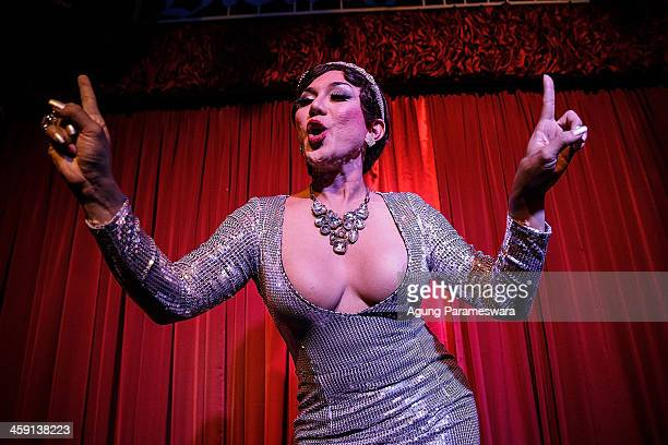 Indonesian drag queen Fiona performs during the 5th anniversary celebrations of Bali Joe Bar one of the most famous gay bars in Bali on December 23...