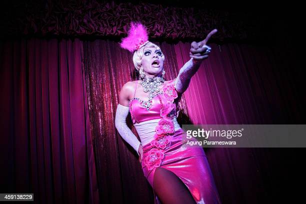 Indonesian drag queen Renata performs during the 5th anniversary celebrations of Bali Joe Bar one of the most famous gay bars in Bali on December 23...