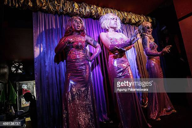 Indonesian drag queens Fiona Monica and Tracy practice for a special performance on the 5th anniversary celebrations of Bali Joe Bar one of the most...