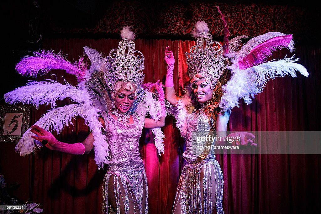 Indonesian drag queens Renata and Tracy perform during the 5th anniversary celebrations of Bali Joe Bar one of the most famous gay bars in Bali on...