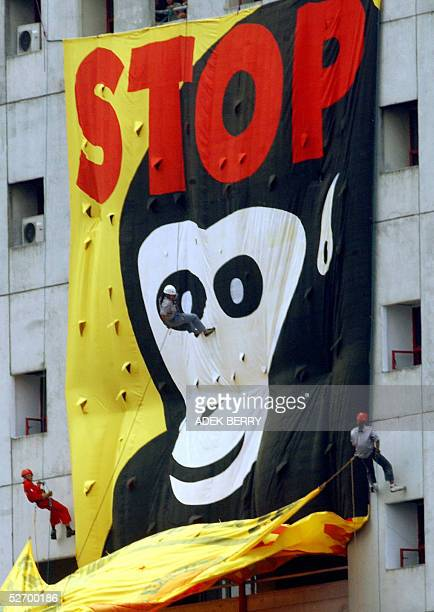 Indonesian environmental activists of Profauna roll down a huge banner that reads 'Stop illegal trade in wildlife' during a campaign in Jakarta 27...