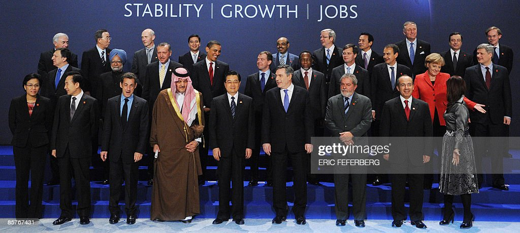 Indonesian Finance Minister Sri Mulyani, South Korean President Lee Myung-Bak, French President Nicolas Sarkozy, Saudi Foreign Minister Prince Saud al-Faisal, Chinese President Hu Jintao, British Prime Minister Gordon Brown, Brazilian President Lula Ignacio de Silva, Mexican President Felipe Calderon and Argentine President Cristina Fernandez de Kirchner, (Second Row from L to R) President of the European Commission Manuel Barroso, Indian Prime Minister Manmohan Singh, Turkish President Recep Tayyip Erdogan, US President <a gi-track='captionPersonalityLinkClicked' href=/galleries/search?phrase=Barack+Obama&family=editorial&specificpeople=203260 ng-click='$event.stopPropagation()'>Barack Obama</a>, Russian President Dmitry Medvedev, South African President Kgalema Motlanthe, Dutch Prime Minister Jan Peter Balkenende, Spanish Prime Minister Jose Luis Rodriguez Zapatero, German Chancellor <a gi-track='captionPersonalityLinkClicked' href=/galleries/search?phrase=Angela+Merkel&family=editorial&specificpeople=202161 ng-click='$event.stopPropagation()'>Angela Merkel</a> and Canadian Prime MInister Stephen Harper (Third Row from L to R) International Monetary Fund (IMF) Managing Director <a gi-track='captionPersonalityLinkClicked' href=/galleries/search?phrase=Dominique+Strauss-Kahn&family=editorial&specificpeople=227268 ng-click='$event.stopPropagation()'>Dominique Strauss-Kahn</a>, UN Secretary General Ban Ki-moon, World Trade Organisation (WTO) Director General Pascal Lamy, Thai Prime Minister and chair of the Association of Southeast Asian Nations (ASEAN) Abhisit Vejjajiva, New Partnership for Africa's Development (NEPAD) Meles Zenawi, Australian Prime Minister Kevin Rudd, Japanese Prime Minister Taro Aso, Czech Prime Minister and President of the European Council Mirek Topolanek, Governor of the Bank of Italy Mario Draghi and World Bank President Robert Zoellick pose for a family photo during the G20 summit at the ExCel centre, in east London, on April 2, 2009. World l