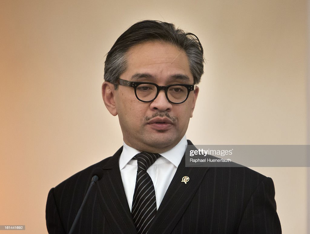 Indonesian Foreign Minister <a gi-track='captionPersonalityLinkClicked' href=/galleries/search?phrase=Marty+Natalegawa&family=editorial&specificpeople=2862416 ng-click='$event.stopPropagation()'>Marty Natalegawa</a> gives a press conference after holding talks with his German counterpart Guido Westerwelle (not pictured) and his at the foreign office on February 10, 2013 in Jakarta, Indonesia. Westerwelle is with a economic delegation on a southeast asia tour, Jakarta is the end of his tour.