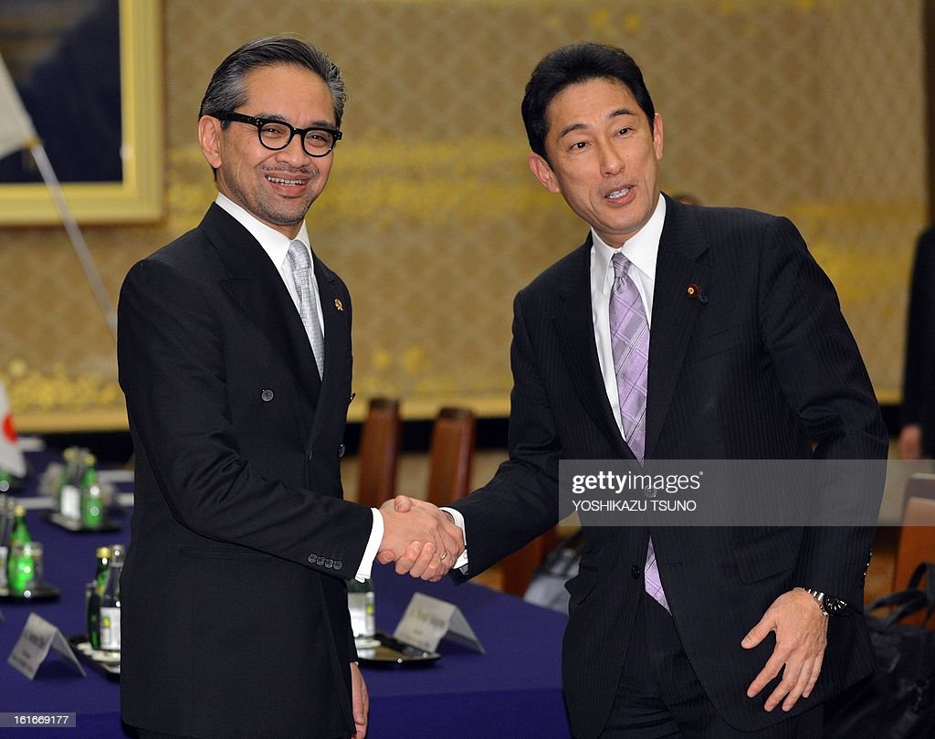 Indonesian Foreign Minister Marty Natalegawa (L) shakes hands with his Japanese counterpart Fumio Kishida prior to their talks at the Iikura guesthouse in Tokyo on February 14, 2013. Natalegawa will attend the Conference on Cooperation among East Asian Countries for Palestinian Development (CEAPAD). AFP PHOTO / Yoshikazu TSUNO