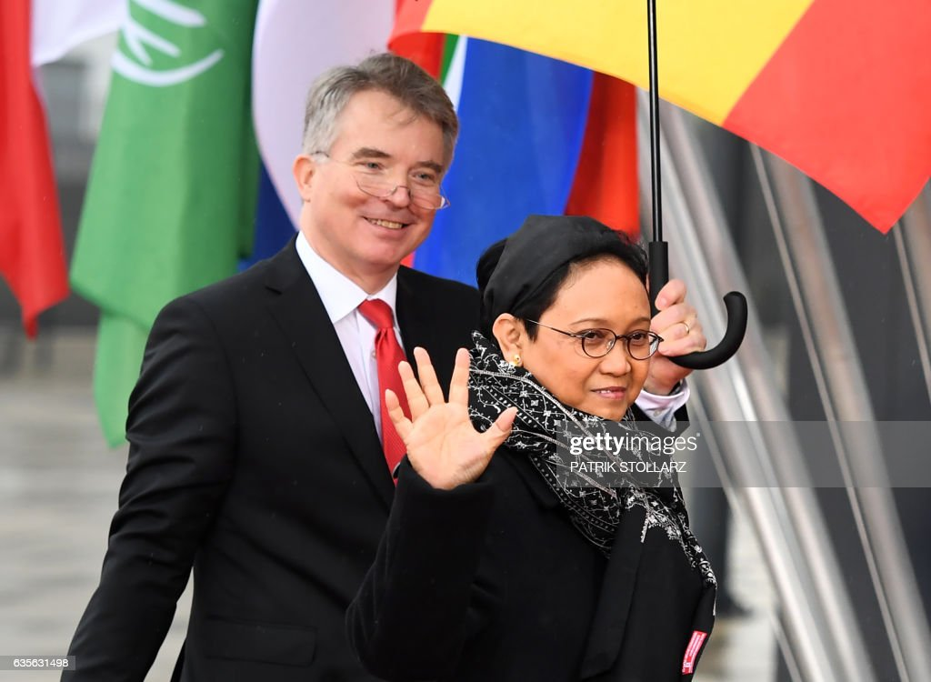 Indonesian Foreign Minister Retno Marsudi arrives at the World Conference Center in Bonn, western Germany, on February 16, 2017, the venue of a G20 Foreign Ministers Meeting that will take place until February 17, 2017. US Secretary of State Rex Tillerson will make his diplomatic debut at the G20 gathering, where his counterparts hope to find out what 'America First' means for the rest of the world. / AFP / Patrik STOLLARZ