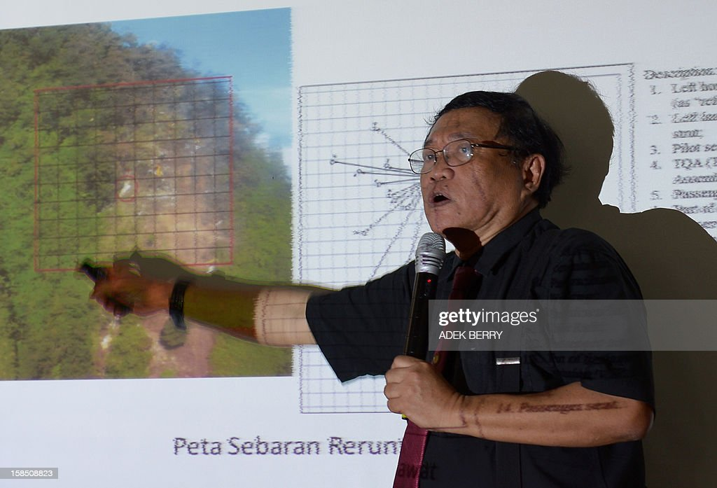 Indonesian investigator Marjono explains to journalists reasons for the deadly May crash of the Russian Sukhoi Superjet 100 during a press conference...