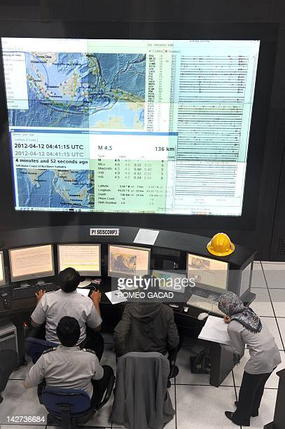 Indonesian Meteorology and Geophysics Agency staff monitor the latest seismic activities in the area of Sumatra island from their Jakarta...
