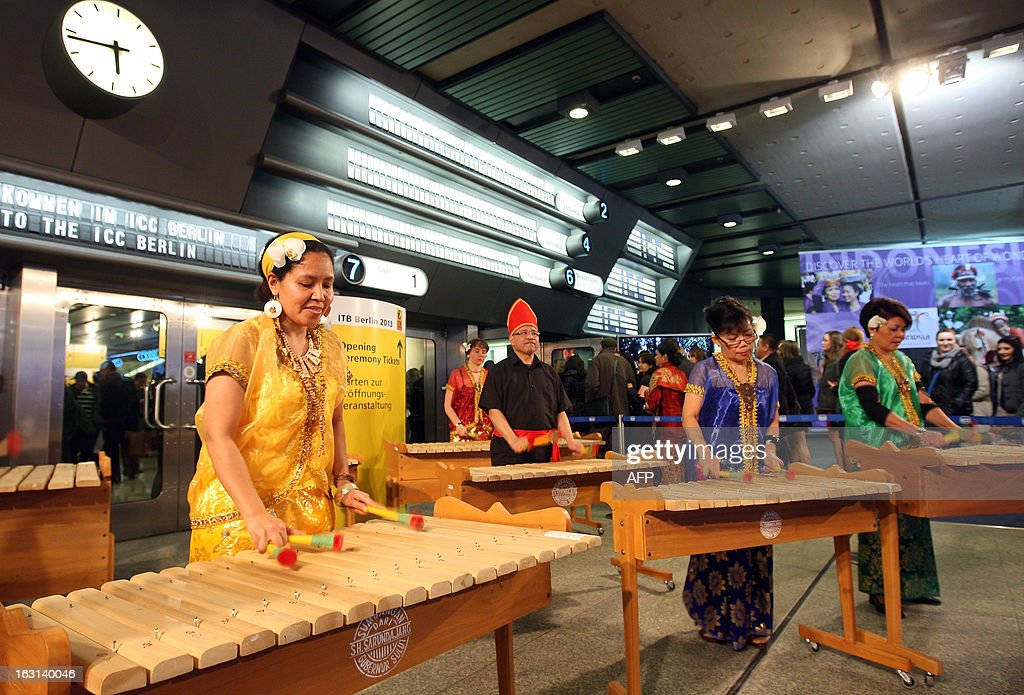 Indonesian musicians perform on xylophones at the ITB Berlin tourism convention (Internationale Tourismus-Boerse) prior to its opening in Berlin on March 5, 2013. The ITB Berlin runs from March 6-10 and features Indonesia as its partner country for the event in 2013.