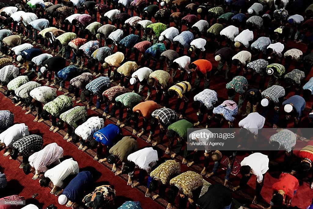 Indonesian Muslims perform the last Friday Prayer of Islam's holy fasting month of Ramadan at Istiqlal Mosque in Jakarta, Indonesia on July 01, 2016.