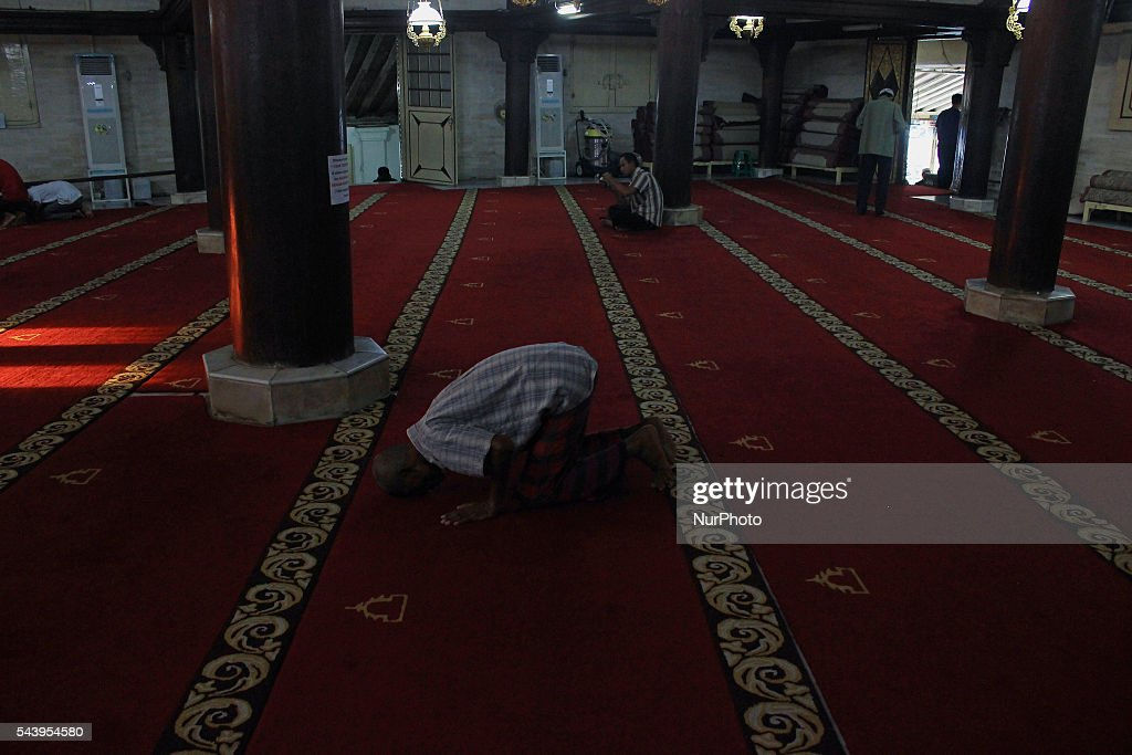 Indonesian Muslims praying at Kauman Great Mosque, Yogyakarta, Indonesia on June 30, 2016. The Islamic holy month of Ramadan is celebrated by Muslims around the world marked by fasting, abstaining from food, sex and smoking from dawn to dusk.
