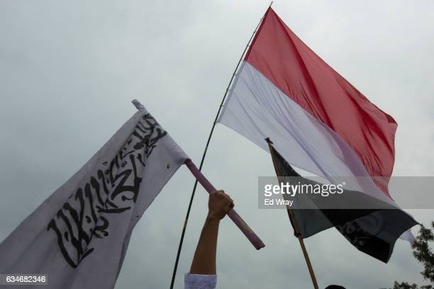 Indonesian Muslimss wave the Indonesian and Islamic flags during a mass prayer rally of tens of thousands of Muslimss calling for people to elect a...