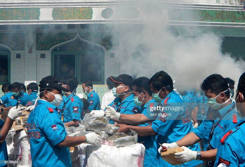 Indonesian narcotics police destroy 1.4 tons of seized marijuana from serries of raids in Jakarta on February 15, 2013. Indonesian police burned 1.4 tons of marijuana, worth over a million dollars during a ceremony at the South Jakarta police district. AFP PHOTO / Bay ISMOYO