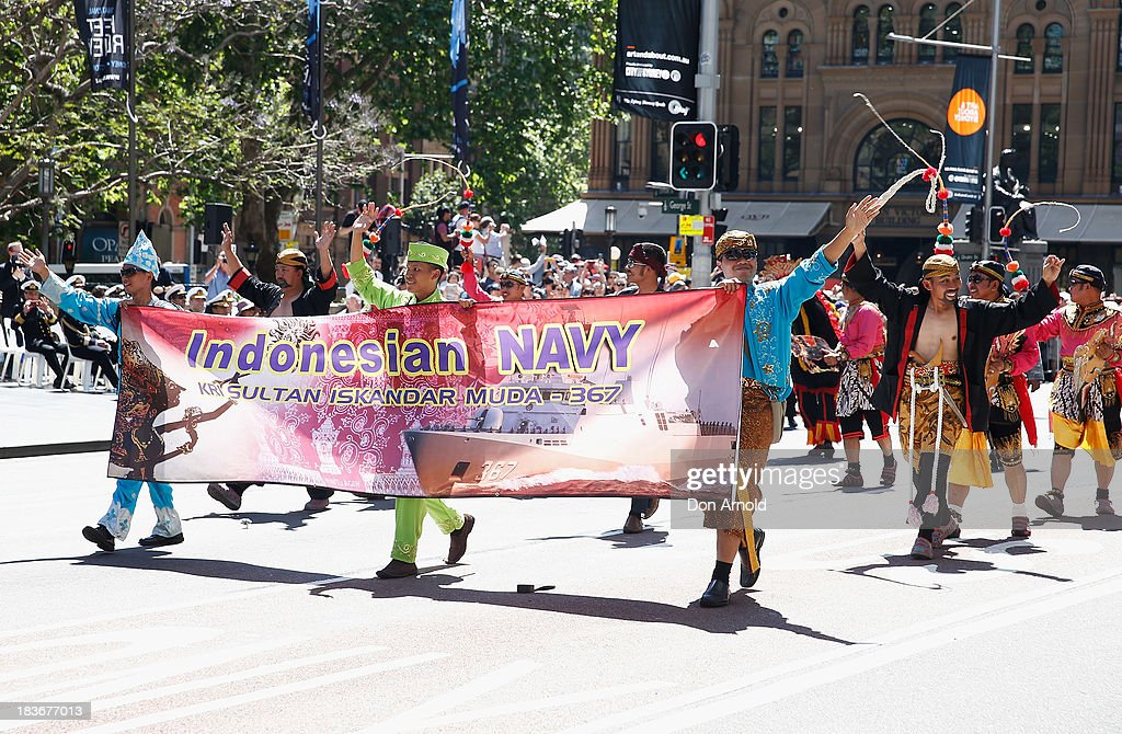 Indonesian Navy personnel are cheered on by the crowd as they march down George Street on October 9, 2013 in Sydney, Australia. Over 4,000 personnel paraded through the streets of Sydney just one day before the end of International Fleet Review in Sydney.