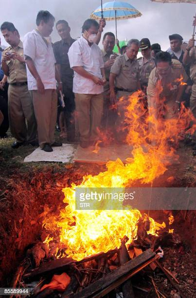 Indonesian officials burn poultry and bird cages believed to be infected by the H5NI virus in Jakarta on March 25 2009 Indonesia is the country...