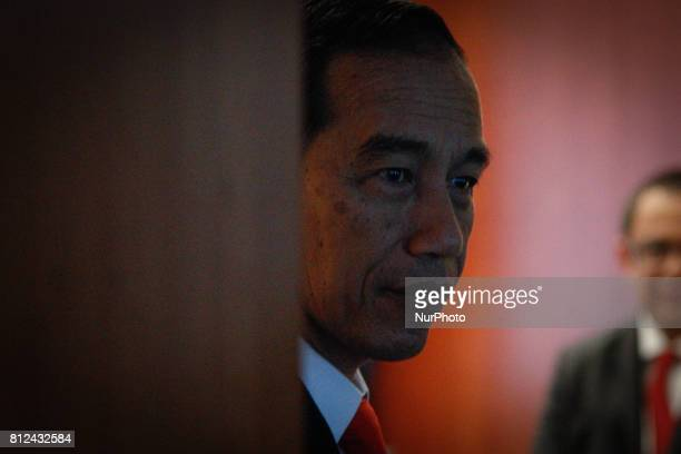 Indonesian PM Joko Widodo is seen waiting at a meeting room during the G20 summit in Hamburg Germany on 8 July 2017