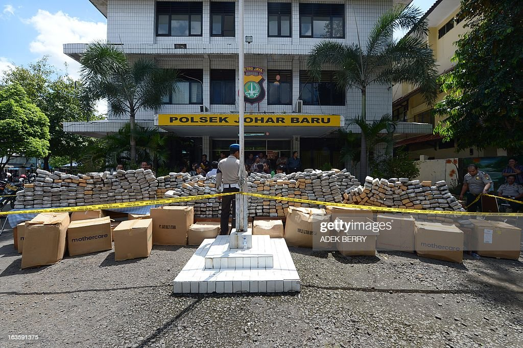 Indonesian police display one tonne of marijuana seized during a recent operation in Jakarta on March 13, 2013. Indonesian police arrested two Indonesian suspects on March 11 in Cianjur, West Java and seized about one tonne of marijuana valued at 237,000 USD.
