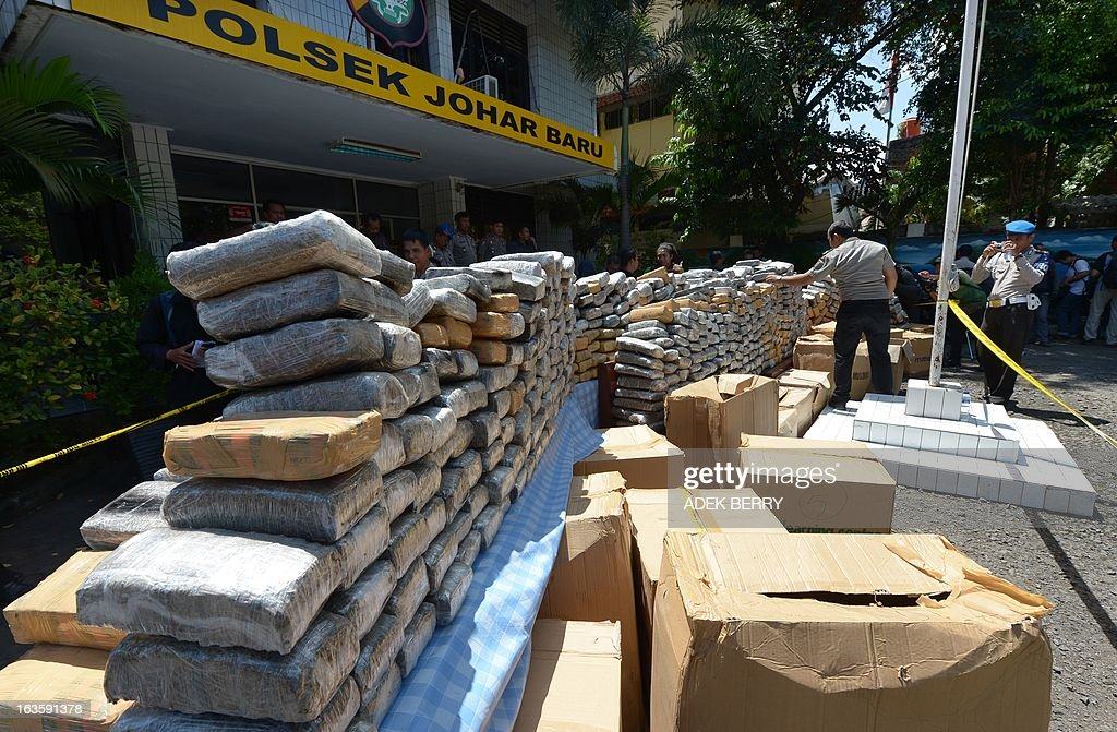 Indonesian police display one tonne of marijuana seized during a recent operation in Jakarta on March 13, 2013. Indonesian police arrested two Indonesian suspects on March 11 in Cianjur, West Java and seized about one tonne of marijuana valued at 237,000 USD. AFP PHOTO / ADEK BERRY
