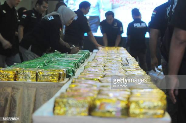 Indonesian police show evidence 1000 Kilograms of crystal methamphetamine drugs at Metropolitan Jakarta regional office Jakarta July 202017...