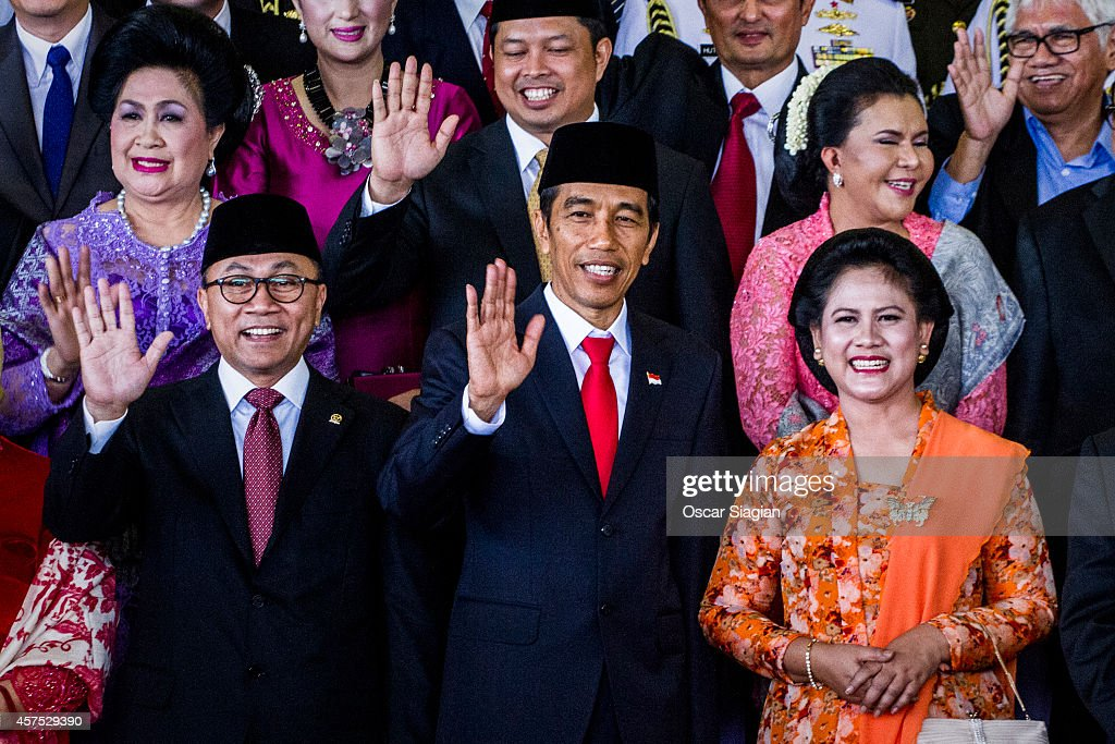 Indonesian President <a gi-track='captionPersonalityLinkClicked' href=/galleries/search?phrase=Joko+Widodo&family=editorial&specificpeople=6657368 ng-click='$event.stopPropagation()'>Joko Widodo</a> (C) and First Lady Iriana (R) and wife pose for photo after the inauguration ceremony for President <a gi-track='captionPersonalityLinkClicked' href=/galleries/search?phrase=Joko+Widodo&family=editorial&specificpeople=6657368 ng-click='$event.stopPropagation()'>Joko Widodo</a> at the House of Representative building on October 20, 2014 in Jakarta, Indonesia. <a gi-track='captionPersonalityLinkClicked' href=/galleries/search?phrase=Joko+Widodo&family=editorial&specificpeople=6657368 ng-click='$event.stopPropagation()'>Joko Widodo</a> is today sworn in as the president of Indonesia with an inauguration ceremony held in Jakarta. Widodo was the eventual winner of a tightly fought and sometimes controversial election race against opposition candidate Prabowo Subianto. A number of key world leaders will be in attendance including Australia's prime minister Tony Abbott.