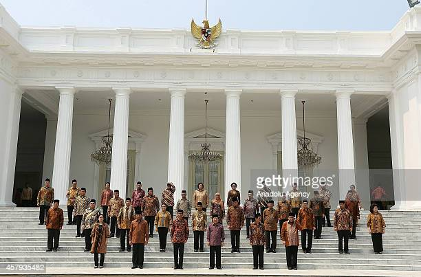 Indonesian President Joko Widodo and Vice President Jusuf Kalla attend the Working Cabinet's official inauguration at the presidential palace in...