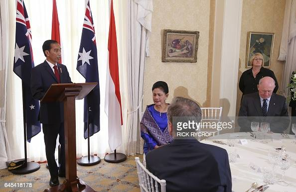 Indonesian President Joko Widodo delivers a speech at a state lunch at Admiralty House in Sydney on February 26 2017 Widodo during his twoday...