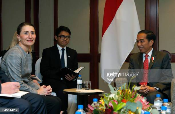 Indonesian President Joko Widodo meets with New South Wales Premier Gladys Berejiklian during his visit to Sydney February 25 2017