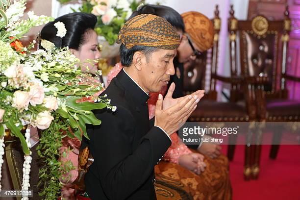 Indonesian President Joko Widodo seen during his son Gibran Rakabuming Raka's mariage with Selvi Ananda on June 11 2015 in Solo Indonesia Jefta...