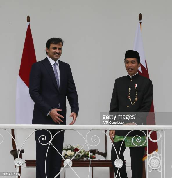 Indonesian President Joko Widodo talks to Qatar's Emir Sheikh Tamim Bin Hamad alThani prior to their meeting at the presidential palace in Bogor West...