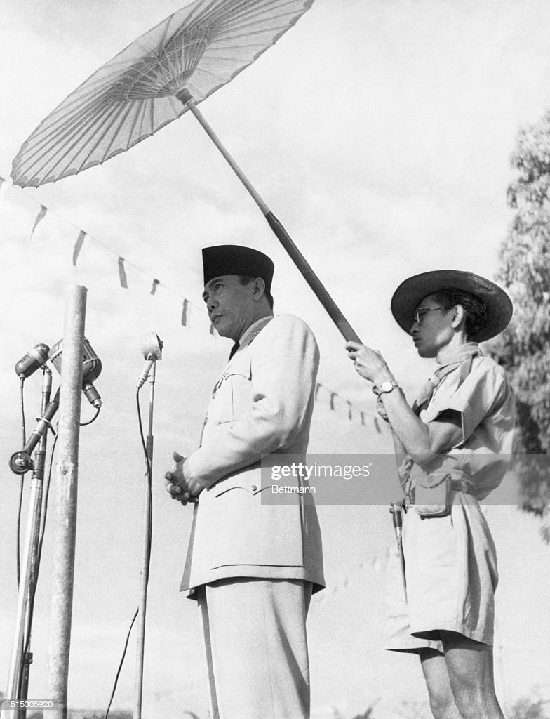 Indonesian President <a gi-track='captionPersonalityLinkClicked' href=/galleries/search?phrase=Sukarno&family=editorial&specificpeople=209275 ng-click='$event.stopPropagation()'>Sukarno</a>, a devout Muslim, addresses a crowd of 5,000 worshippers at Hari Raya Hadji Sunrise ceremonies at Soekabumi. He urged all Muslims to resist the terrorist activities of the fanatical Darul Islam guerillas. 'Good Muslims,' said <a gi-track='captionPersonalityLinkClicked' href=/galleries/search?phrase=Sukarno&family=editorial&specificpeople=209275 ng-click='$event.stopPropagation()'>Sukarno</a>, 'do not kill, rape, and burn houses of their fellow men.' | Location: Soekabumi, West Java.