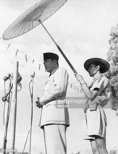 Indonesian President Sukarno a devout Muslim addresses a crowd of 5000 worshippers at Hari Raya Hadji Sunrise ceremonies at Soekabumi He urged all...